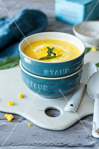 Sweetcorn and potato soup with fried sage garnish