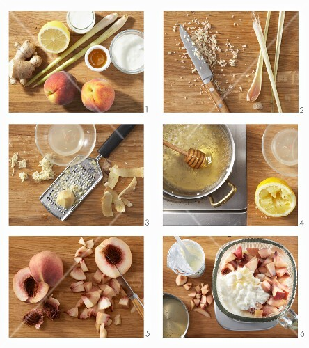 How to make a peach shake with ginger, lemongrass and honey