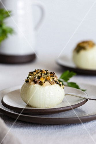 An onion filled with lamb and dried apricots