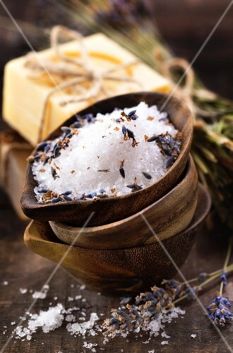 Spa salt, lavender and soaps (spa and body care background)