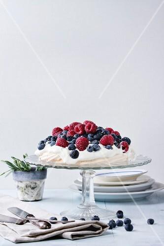 Vintage cake stand with Meringue dessert Pavlova with fresh blackberries and raspberrie