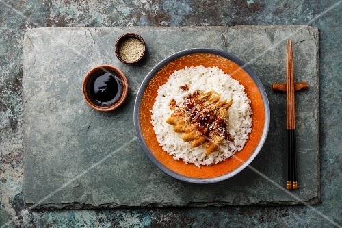 Eel on Rice with sauce and sesame on stone slate background