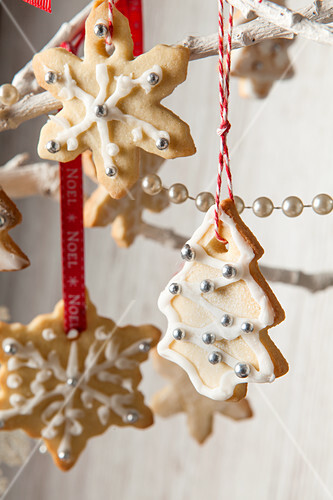 Decoration Biscuit Noel.Edible Tree Decoration Biscuits Iced And License Images