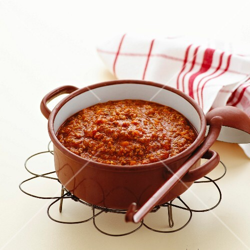 Bolognese sauce in a pot
