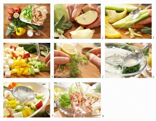Gemüsesalat mit Apfel und Joghurtsauce zubereiten