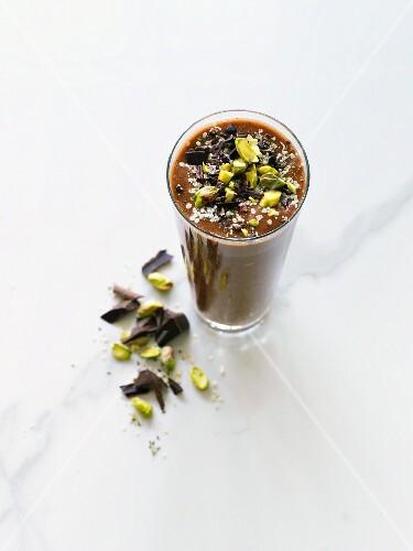 Dark chocolate smoothie with hemp seeds, pistachios, cacao nibs, dark chocolate