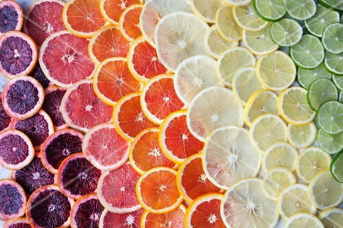 Brightly coloured citrus fruit slices in rows