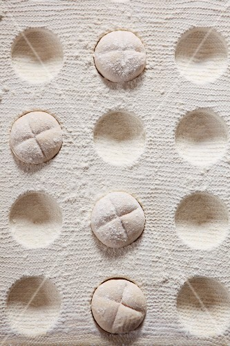 Pieces of dough for bread rolls (seen from above)