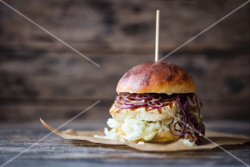 A burger with halloumi and cabbage