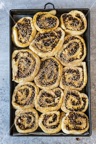 Yeast bread rolls with sheep's cheese and zaatar (unbaked)