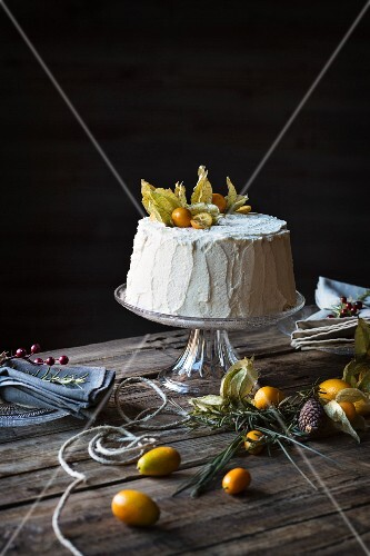 Chiffon cake on wooden table