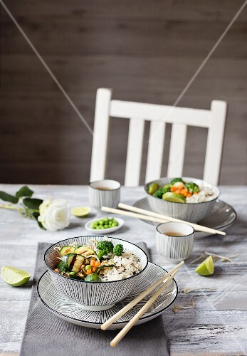Basmati rice with vegetables on grey background
