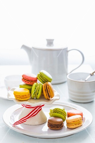 Assorted Colorful Macarons on Cake Stand to be served at Tea time