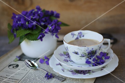 A cup of coffee and violets