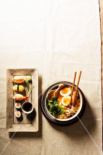 Ramen soup and sushi (Japan)