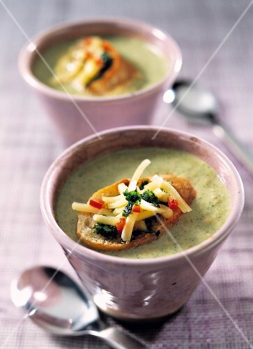 A bowl of broccoli and walnut soup