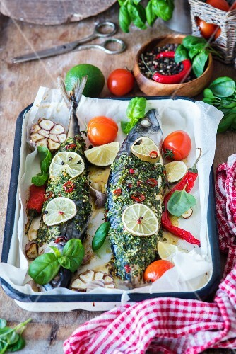 Roasted mackerel with garlic, lime, chilli pepper and basil