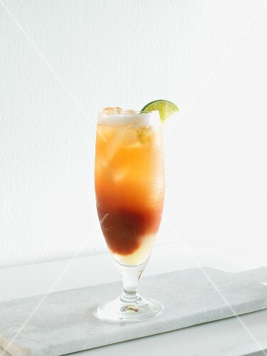 Michelada cocktail on white