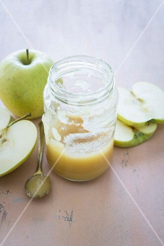 A jar of fresh apple sauce