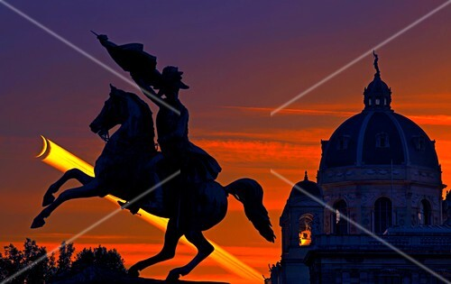 Vienna monuments and crescent Moon