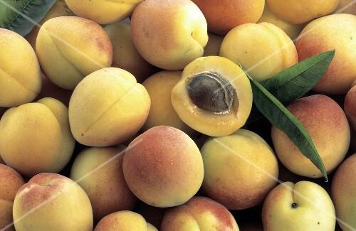 Reife Aprikosen, eine halbierte Aprikose (Ausschnitt)