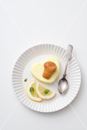 Lemon semi-freddo with baba