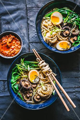 Mushroom and egg Ramen (Japan)