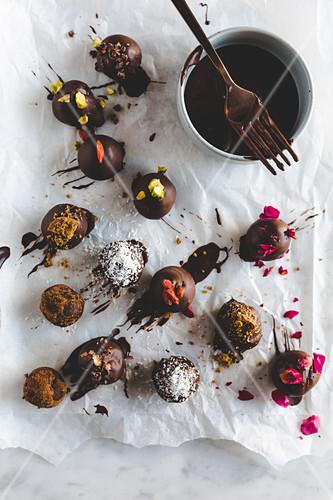 Various chocolate truffles