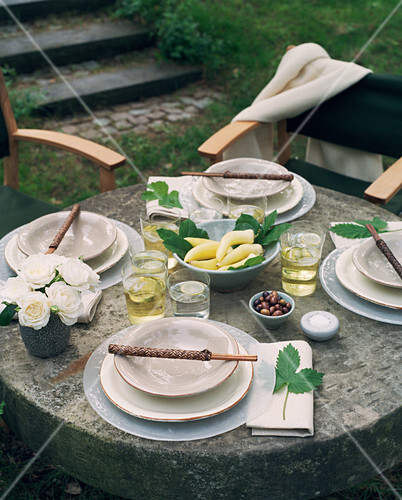 A laid table in a garden