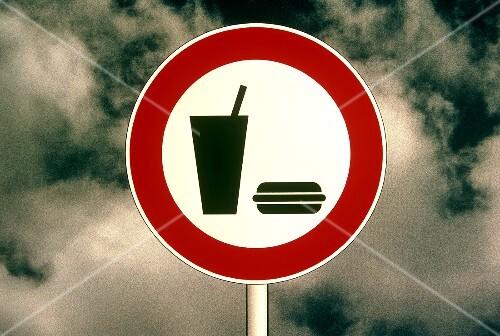 Highway Sign For Fast Food Restaurant