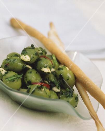 Olive ripiene e grissini (stuffed olives, Italy)