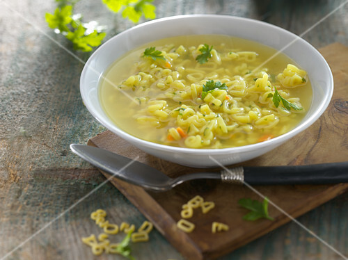 Alphabet soup with parsley