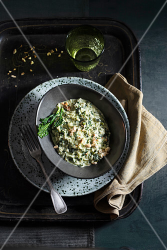 Tuscan cabbage risotto with roasted almonds and mascarpone