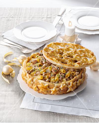 Maccheroni-Fleisch-Pastete