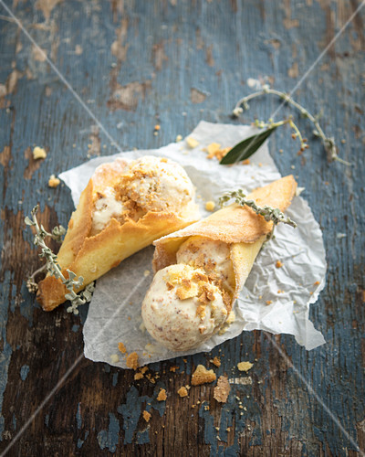 Imphepho and olive oil ice cream with maize sugar cone crumbs