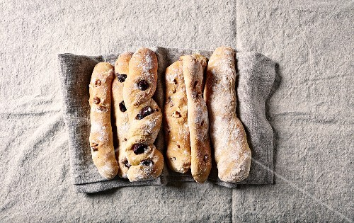 Rustic breadsticks with kalamata olives and walnuts