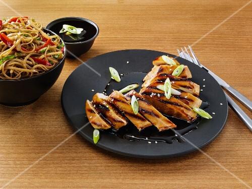 Teriyaki sauce on chicken