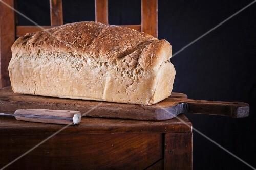 Coconut toast bread on a chopping board