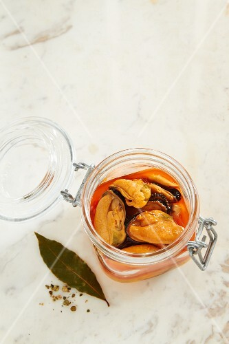 Pickled mussels in a glass jar