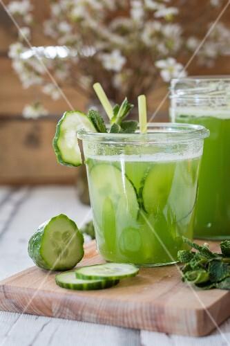 Homemade cucumber lemonade in glasses