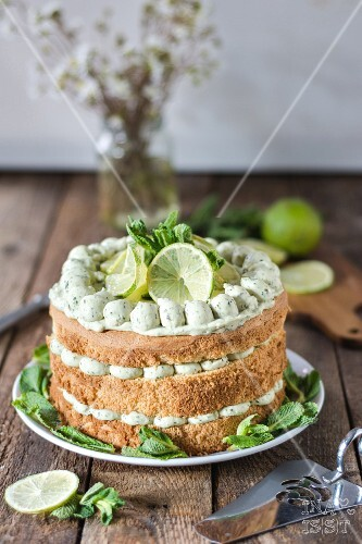 Lime cake with basil