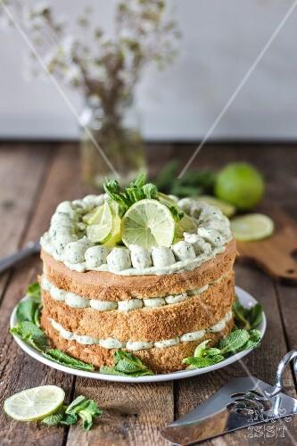 Lime cake with basil