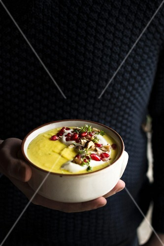 Parsnip soup with pomegranate seeds