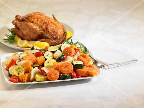 Roast chicken and vegetable platters