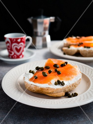 Bagel and Lox (a bagel with salmon) and an espresso