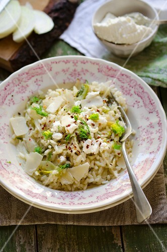 Fennel risotto with ricotta, parmesan and chilli flakes