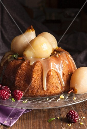 Bundt cake with poached pears