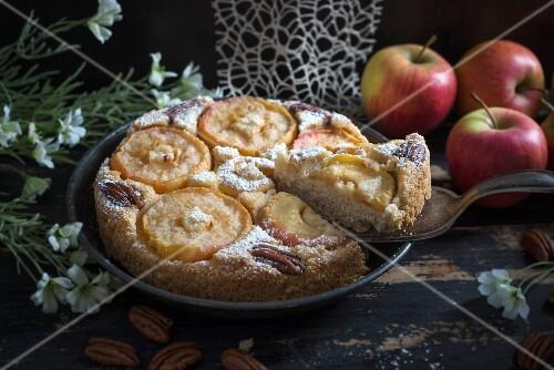 Vegan apple cake with pecan nuts