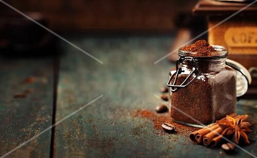 Ground coffee on vintage background