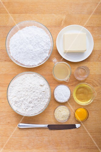 Ingredients for making lemon shortbread hearts